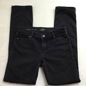 LOFT Modern Fit Straight Black Washed Black Jeans